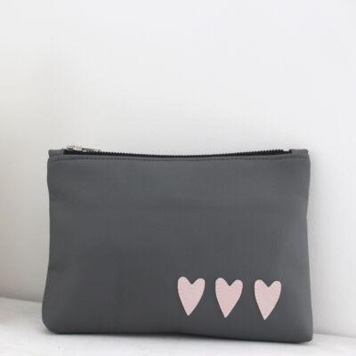 ESKA textilbőr neszeszer - szürke alapon rózsaszín szíves