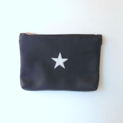 ESKA textilbőr neszeszer - fekete alapon ezüst csillag