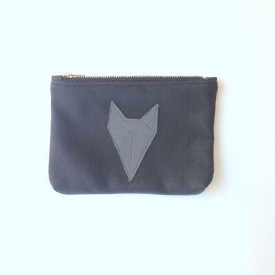 ESKA textilbőr neszeszer - fekete alapon szürke rókás