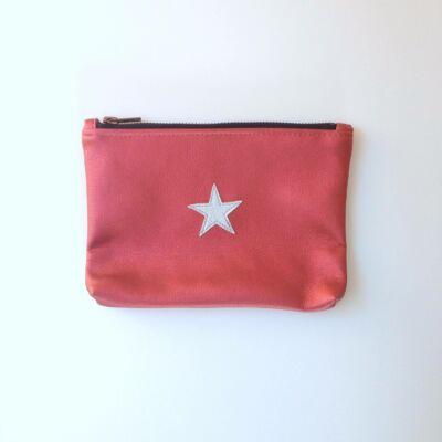 ESKA textilbőr neszeszer - korallpiros alapon ezüst csillag