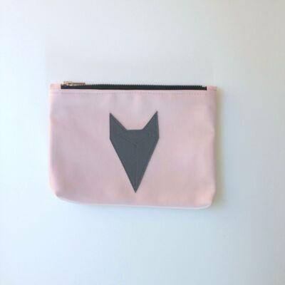 ESKA textilbőr neszeszer - rózsaszín alapon szürke rókás