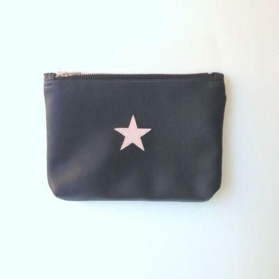ESKA textilbőr neszeszer - fekete alapon rózsaszín csillag