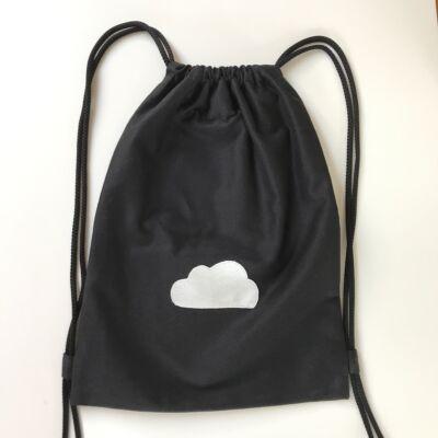 Vászon tornazsák • fekete ezüst felhő L