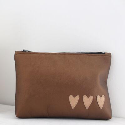 ESKA textilbőr neszeszer - bronz alapon világos bronz szíves