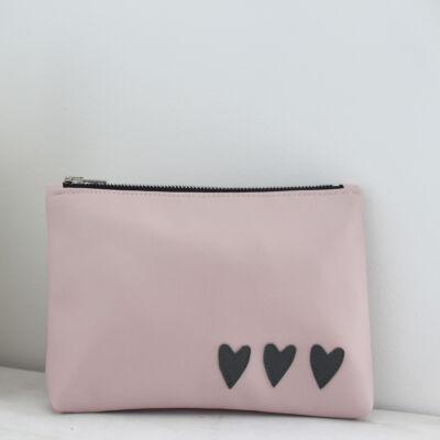 ESKA textilbőr neszeszer - rózsaszín alapon szürke szíves