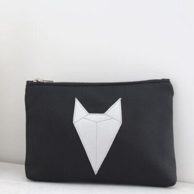 ESKA textilbőr neszeszer - fekete alapon ezüst rókás