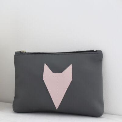 ESKA textilbőr neszeszer - szürke alapon rózsaszín rókás