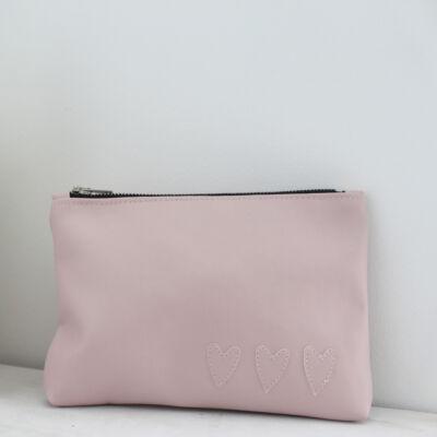 ESKA textilbőr neszeszer - rózsaszín alapon rózsaszín szíves