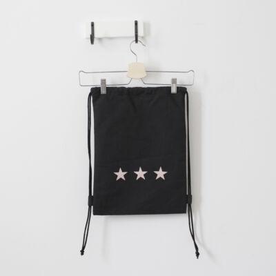 Vászon tornazsák • fekete rózsaszín csillag