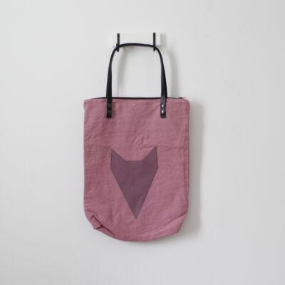 Bőrfüles nagyméretű válltáska - rózsaszín - lila róka