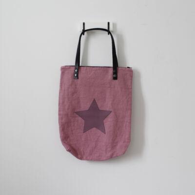 Bőrfüles nagyméretű válltáska - rózsaszín - lila csillag