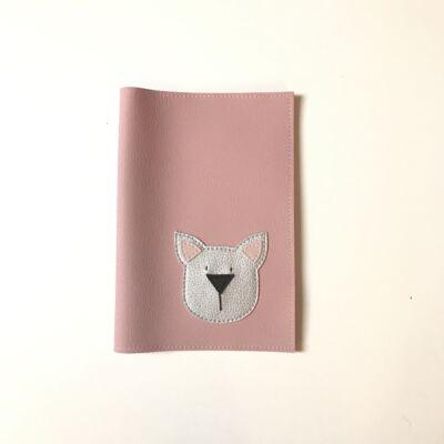 Egészségügyi kiskönyvborító - rózsaszín / ezüst cica