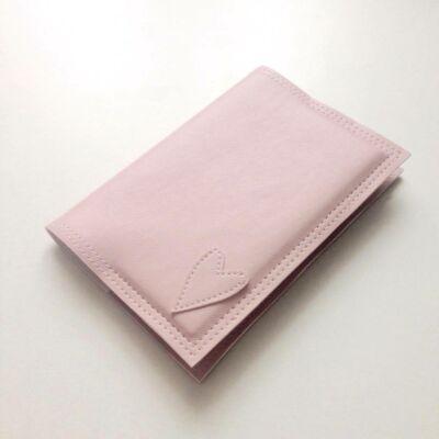 Textilbőr irattartó - rózsaszín szíves