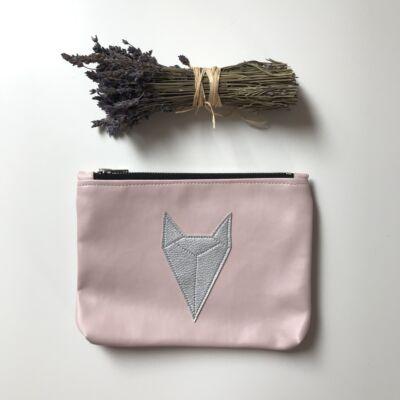 ESKA textilbőr neszeszer - rózsaszín alapon ezüst rókás