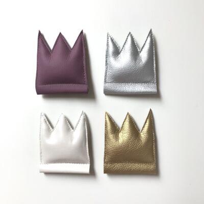Textilbőr korona hajráfra - ezüst